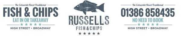 Russells Fish and Chips | Broadway | Cotswolds Logo